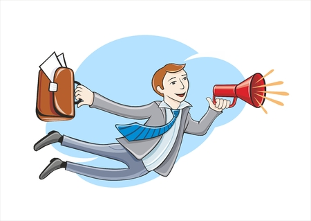 undress: Young businessman with megaphone and briefcase flying high in sky. Flying business hero. Business idea concept in cartoon design style