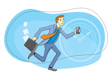 man on cell phone: Businessman with briefcase and phone in hand running about their business. Time is money concept cartoon design style
