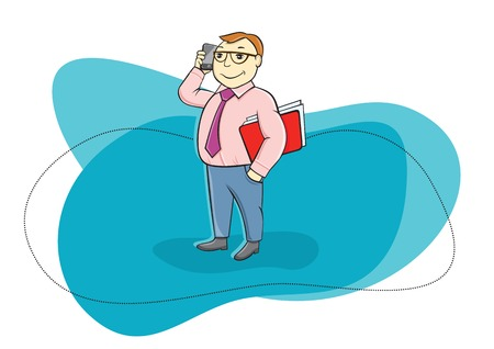 Happy businessman holding phone in his hand near head and talking other hand holding folder with documents cartoon design style Vector