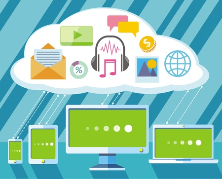 organisation: Concept of organisation business workflow through smartphone,laptop, digital tablet and computer Illustration