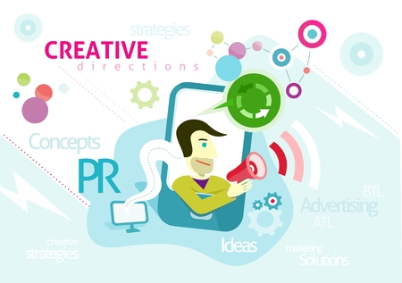 pr: Advertising concept with words PR creative strategies ideas solution. Man looks out of smartphone is holding megaphone from which sounds advertising in cartoon design style