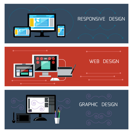 Icons for web design, responsive and graphic design in flat design