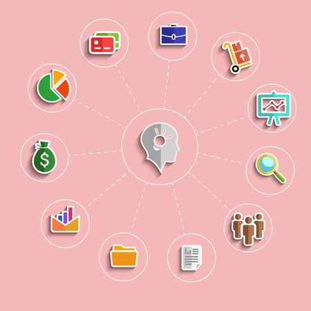 shining light: Conjunto de iconos del dise�o planas con el brillo de la bombilla dentro de la cabeza del hombre de negocios rodeado pictogramas de negocios