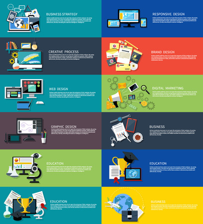 business strategy: Icons set banners for creative process, business strategy, web design, brand design, graphic design, education, responsive design, digital marketing in flat design