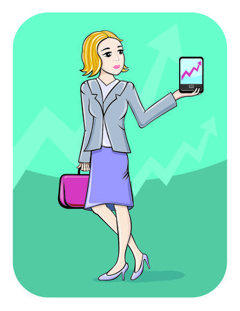smartphone business: Business, office and technology concept. Businesswoman showing graph on smartphone screen in cartoon style