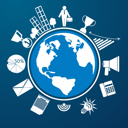 Around the world. Earth planet with item icons man city graph letter megaphone Vector