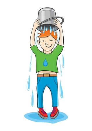 topped:   Ice Bucket Challenge concept. Man pour bucket of ice topped their head cartoon design style