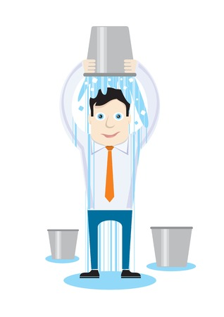 Ice Bucket Challenge concept. Man pour bucket of ice topped their head cartoon design style