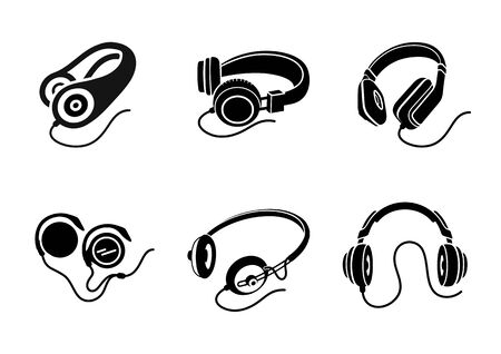 headphones icon: Icon set in black for multimedia devices with different types of headphone designs on white background Illustration
