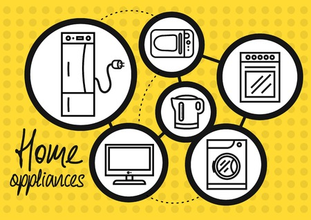 electric kettle: Icon set of home appliance with refrigerator, washing machine, gas stove, microwave, TV, electric kettle on yellow dotted background