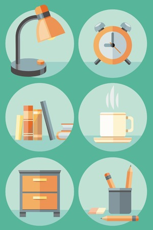 Set of 6 round icons of lamp, clock, books, cup of coffee, stationery and cupboard on green background