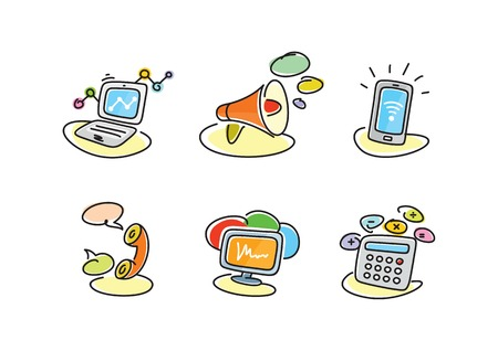 communication cartoon: Electronic device icons in cartoon style. Devices include set of communication icons megaphone computer laptop smartphone data information calling monitor and calculator