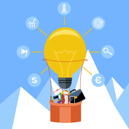 dollar sign icon: Hot air balloon made of lightbulb with business icons Illustration