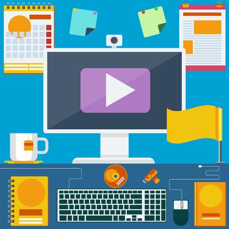 espacio de trabajo: Espacio de trabajo de la oficina creativa moderna, lugar de trabajo con el ordenador. Oficina de trabajador creativo. Estilo minimalista plana y color