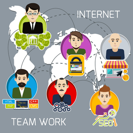 investor: Concept of internet project business team of freelancers with investor, programmer, web designer, system administrator, link manager with interaction lines