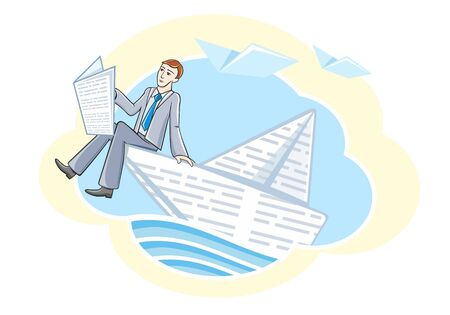 knowledge concept: Busines man sitting in boat reading newspaper and sailing on river of information. Knowledge concept in cartoon style