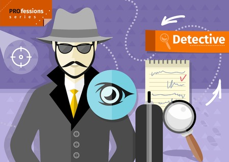 criminals: Profession series with young mustached male detective in hat, coat  and sunglasses  tracking down criminals