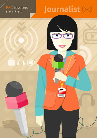 commentary: Profession series with young woman journalist in glasses with badge holding microphone Illustration
