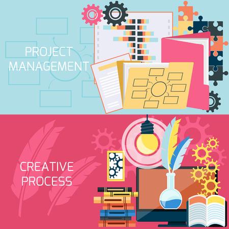 Flache Bauweise des Projektmanagements und kreativen Prozess