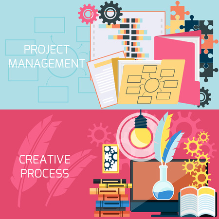 project management: Flat design of project management and creative process