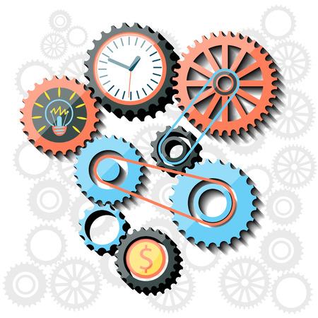 busines: Gears flat design style. Busines idea in gear symbols