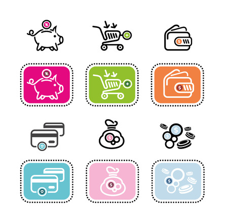 coin box: Money icons on white background. Different item icons such as dollar, card, purse, coin box pig, bank Illustration