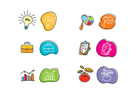 Set of drawing finance stickers icon carton design style Vector