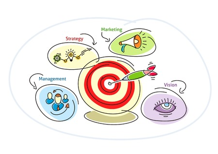 thumb tack: Darts target bubble with lightbulb circles people megaphone eye. Management strategy marketing vision concept cartoon design style