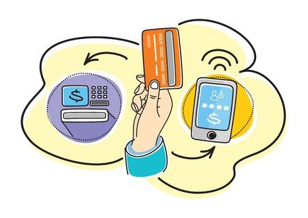 hand holding card: Zaken de hand actie concepten kopen dromen. Hand houden kaart in de buurt van ATM in de buurt van de telefoon, waar wijzerplaten wachtwoord. Het concept van Internet Bankieren