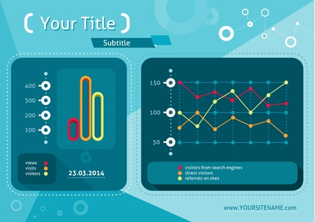 computer data: Web site analytics charts on screen of PC. SEO Search Engine Optimization programming business up trend statistics infographics diagram in flat design style