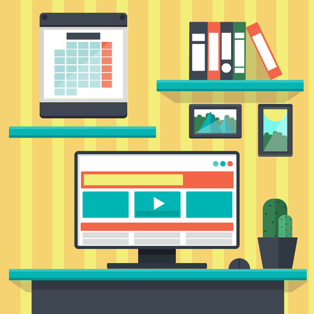 interior designer: Modern office interior with designer desktop in flat design Illustration