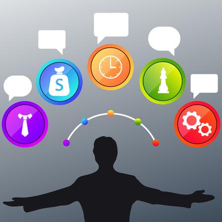 economia aziendale: Uomo d'affari e l'icona colorata bolla. Uomo d'affari con le icone touch screen. Vincitore in economia aziendale e gestione del tempo Vettoriali