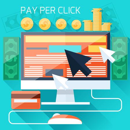 Pago por clic modelo de la publicidad en Internet cuando se hace clic en el anuncio. Monitor con el botón comprar estilo de dibujos animados diseño plano moderno Foto de archivo - 33981112