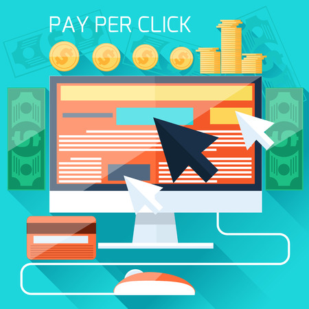 ad: Pay per click internet advertising model when the ad is clicked. Monitor with button buy modern flat design cartoon style Illustration