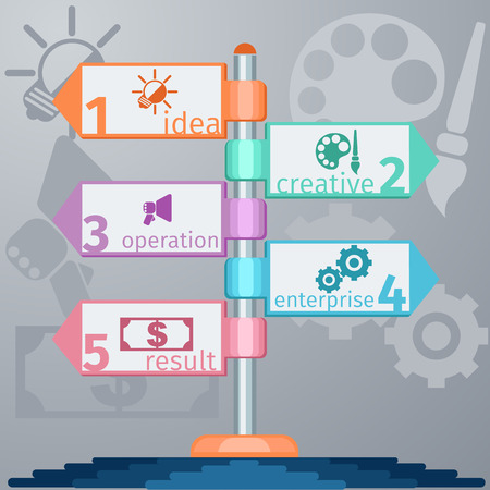 multidirectional: Diagram template infographic of multidirectional pointers on signpost with icons in flat design style