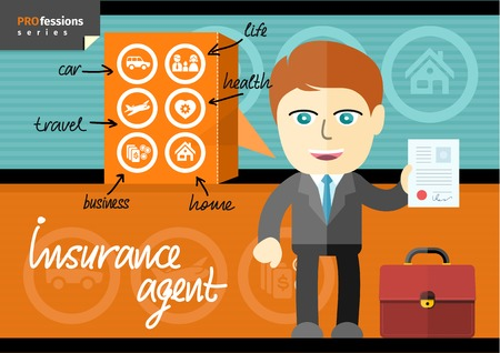 security company: Profession series with male insurance agent in suit presenting car, life, health, home, business and travel insurance contracts