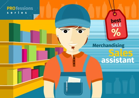 shop assistant: Profession series with young man sales assistant, merchandiser with stylish beard standing in front of supermarket shelves with goods
