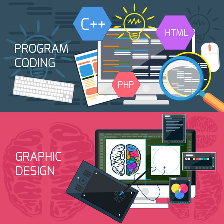 software: Flat design concept of program coding and graphic design