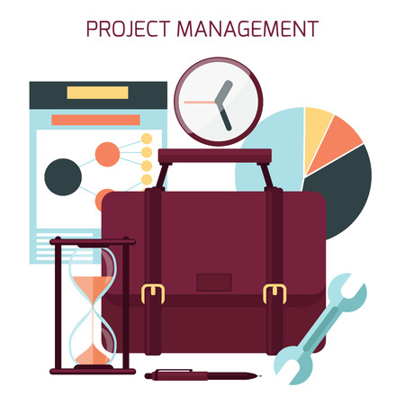 Flat design of project management with icons Vector
