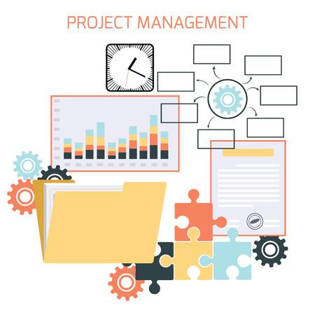 Diseño plano de la gestión de proyectos con iconos