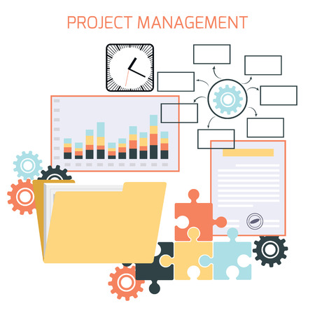 Flat design of project management with icons Illustration