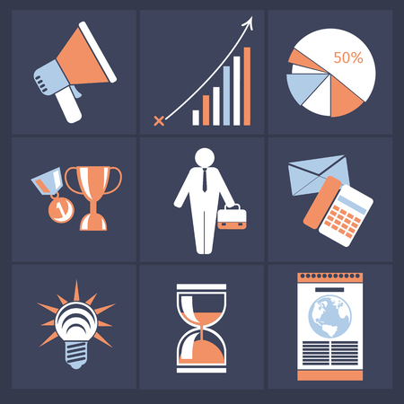 Office and business icons in dark gray buttons version. Megaphone graph chart goblet medal businessman idea hourglass Vector