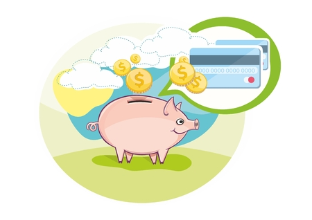 Card with pink piggy bank and coins in cartoon design style. Business concept