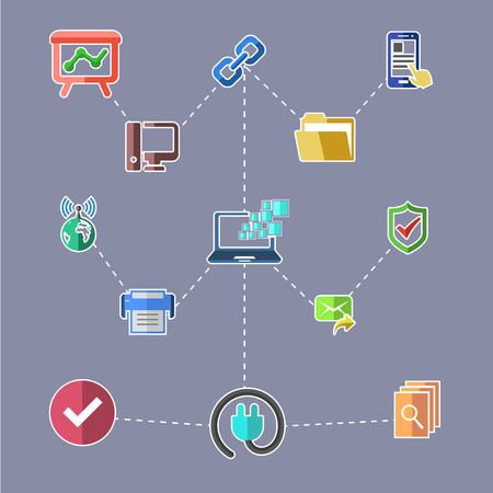 web security: Concept for data transfer technology, web security, safety data, network, data analytics with interaction lines