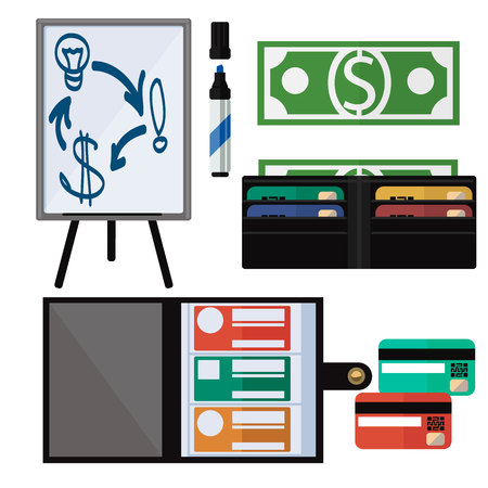greenback: Dollar bills, leather wallet, notebook, marker, tripod and credit card. Business concept tools