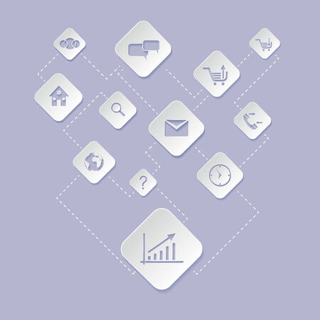 Flat design white icon set of web application for business, e commerce on grey background Vector