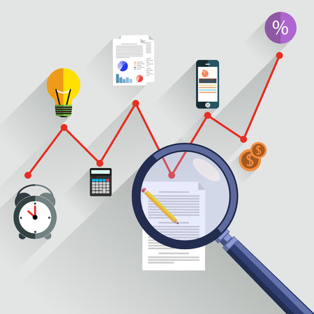 Growth chart with magnifying glass focusing on point. Infographic steps banners. Representing success and financial growth. Graphical analysis in flat design style