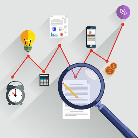 Tabla de crecimiento con lupa centrándose en punto. Infografía pasos banners. Que representa el éxito y el crecimiento financiero. Análisis gráfico de estilo diseño plano Ilustración de vector