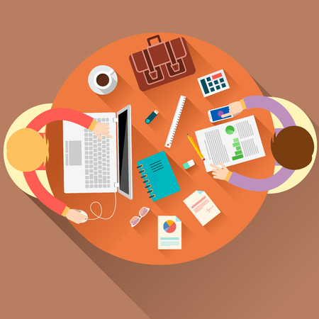 round table: Office teamwork workers business management meeting and brainstorming on round table in top view flat design cartoon style