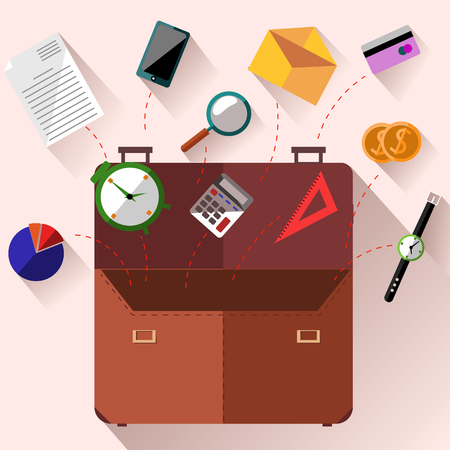Concept of open brown briefcase with office supply, smartphone, calculator, watch, credit card, coins on pink background in flat design Vector